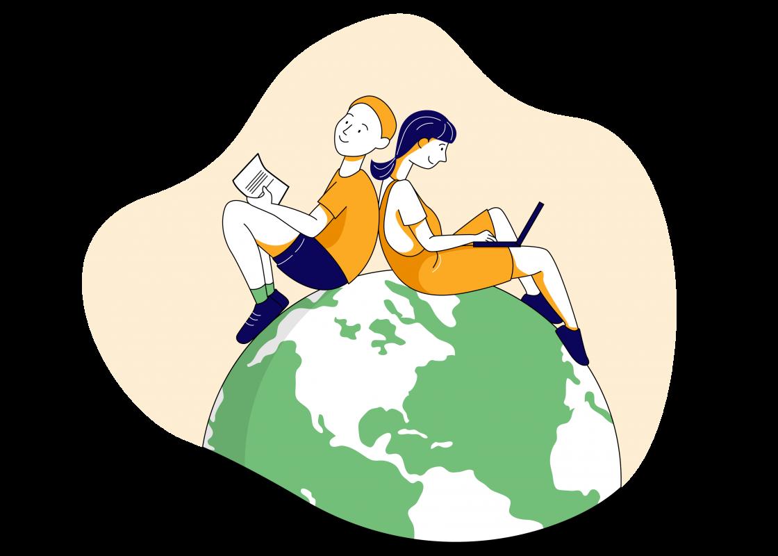 Student on globe_02
